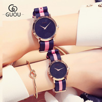 New GUOU Rose Gold Shell Japan Core Nylon Band Pink Red White Quartz Bracelet Wrist Watch Wristwatches for Ladies Women