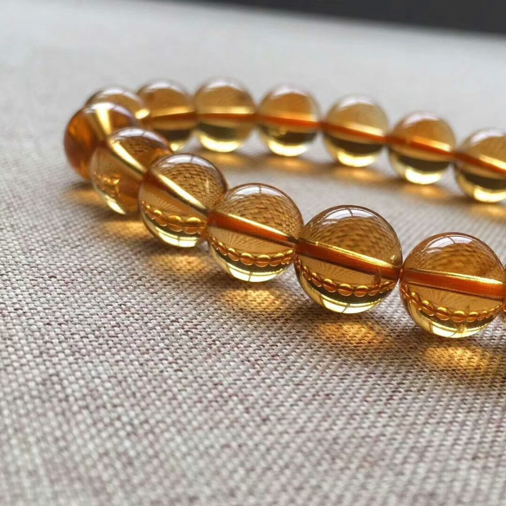 9mm Genuine Natural Yellow Citrine Quartz Crystal Bracelet Round Beads Gemstone Wealthy Stone Stretch Woman ManAAAAAA (3)