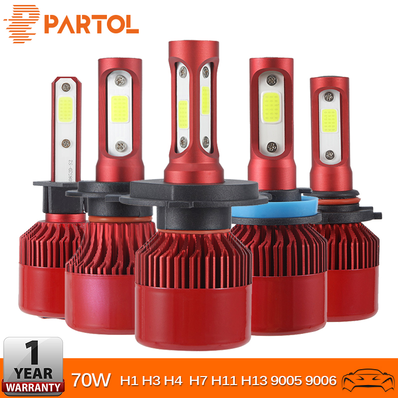 Partol 70W 7000LM H4 H7 H11 H1 Car LED Fog Light Bulbs COB Chips 9005 9006 H3 Auto LED Headlight Bulbs 6500K 4300K 12V 24V Red
