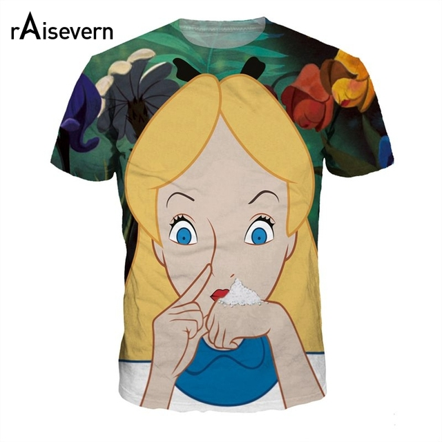 45b9fecfffb4 Raisevern New 3D T Shirt Smoke Weed Alice Crazy Love Tops Novelty Design Men  Women Tees Camisetas Fashion Hip Hop T-shirt