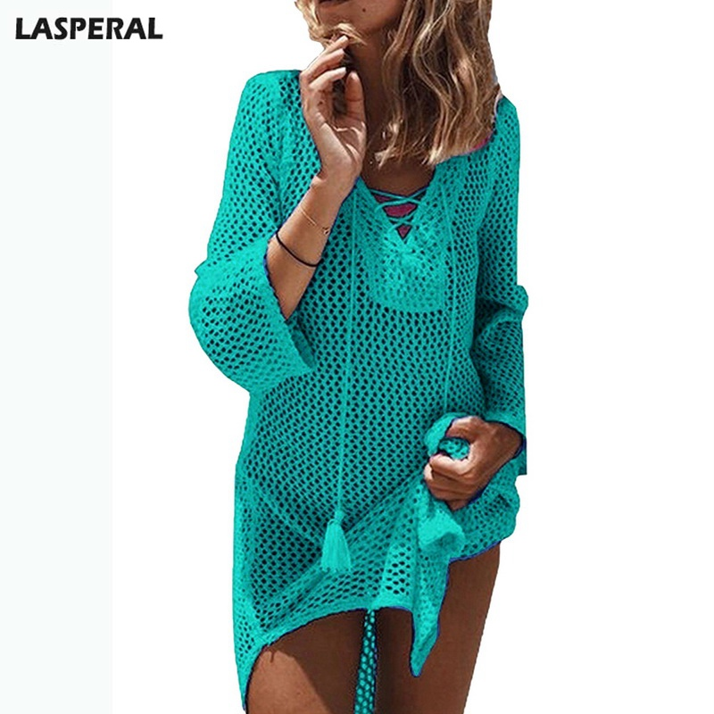 LASPERAL Sexy Crochet Knitted Sweater Beach Dress Women Soild V-neck Hollow Out Mini Dress Fashion Summer Women Clothing