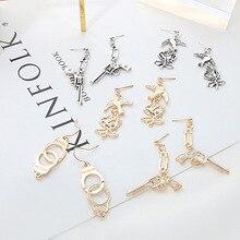 Ruifan Europe Punk Style Cool Handcuff/Pistol/Handgun/Flower Shape Earrings for Women Silver/Gold Color Drop YEA314