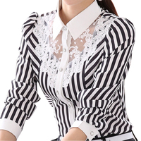 Black & White Lady Chiffon Blusas Plus Size S-4XL Laço Patchwork Projeto Tops 2017 Mulheres Longas Da Luva Camisas Casuais