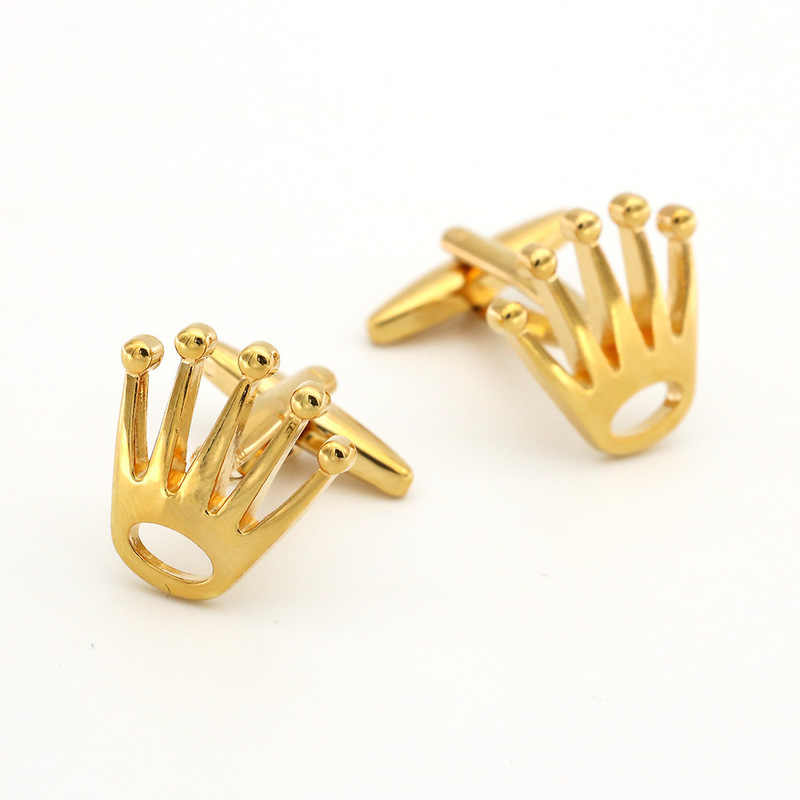 2019 New Arrivals Crown Cufflinks Top Tuxedo Shirt Button Bonito Silver Gold Color Wedding Groom Cuff Links Men Jewelry