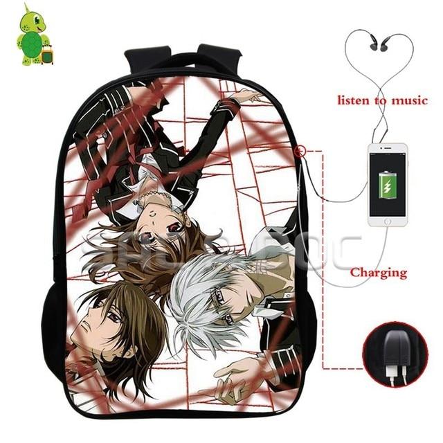 0b8e0f63488b Anime Vampire Knight Kuran Kaname Zero Backpacks Multifunction USB Charge  School Backpack for Teenagers Daily Laptop