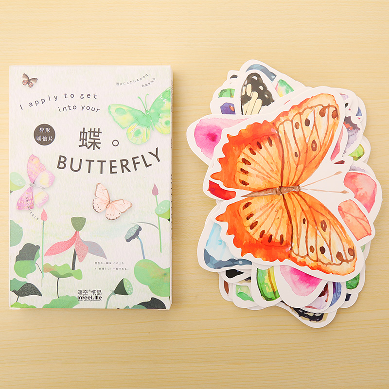 30 pcs/lot Animal Butterfly postcard greeting card christmas card birthday card creative gift cards stationery 30 pcs lot novelty yard cat postcard cute animal heteromorphism greeting card christmas card birthday message card gift cards