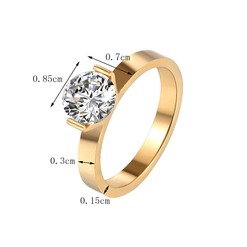 Hot 1 Carat Shiny Crystal Ring For Wedding Titanium Steel Top Quality Gold Color Jewelry Love Gift Woman Ring Wholesale 6