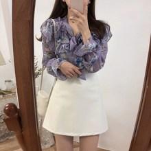 цена 2019 Cute Sweet Bow Tie Tops Women Korean Style Bow Blouses Female Ruffles Girls Purple Floral Vintage Top в интернет-магазинах