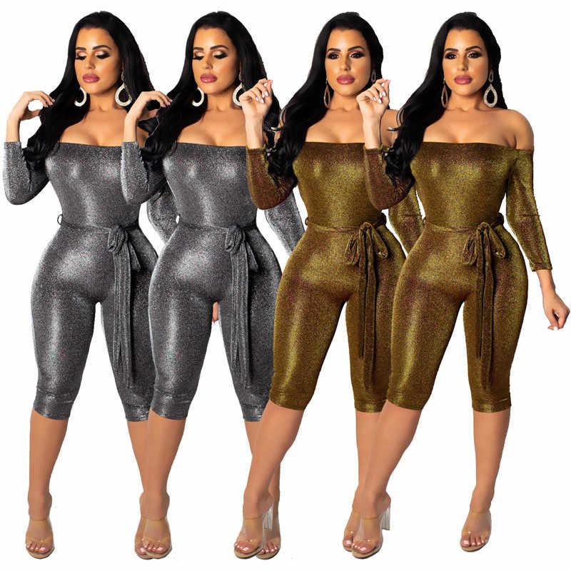 Sexy fuera del hombro purpurina mono pantalones cortos Mujer Slash Neck Club fiesta monos brillante Bodycon mono con fajas