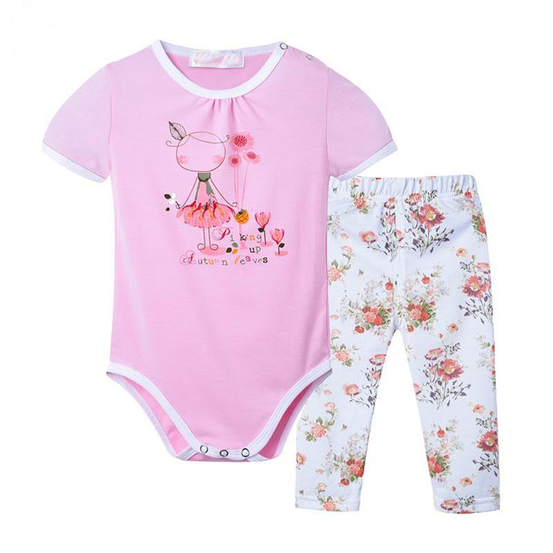 2017 Summer New Cotton Baby Girls Clothes Brand Newborn Clothing Sets for Infant Girl Cute Cartoon Printed Romper Shirt + Pants 2017 summer newborn infant baby girls clothing set crown pattern romper bodysuit printed pants outfit 2pcs
