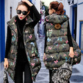Cotton vest women in the long paragraph 2017 autumn and winter large size leisure printing thicker vest jacket