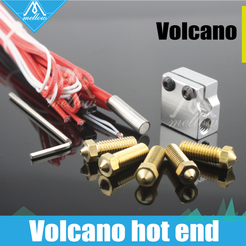 HOT!3D printer parts 12V/24V 0.2mm--1.2mm Volcano hot end eruption kit heater hotend block+Extra nozzles for 1.75/3 mm filament