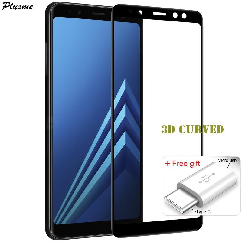 Pour Samsung Galaxy A8 Plus A8 2018 Trempé Verre 3D Courbe plein Écran Protecter Pour Galaxy A8 2018 + Micro usb à TypeC adaptateur