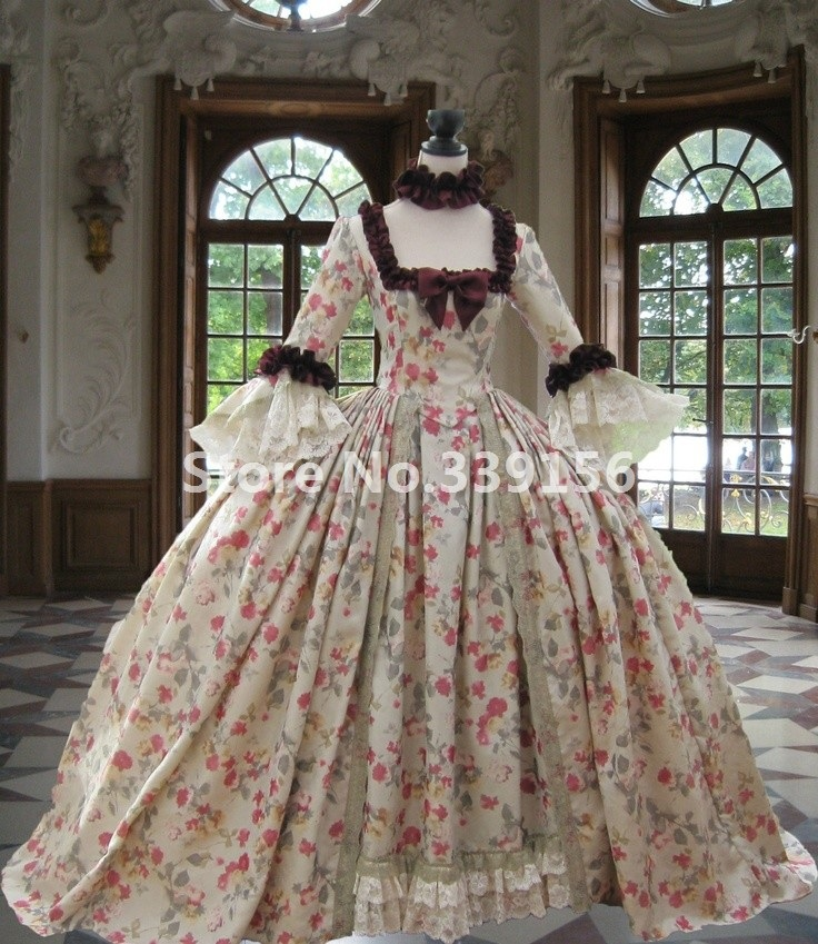 Rococo Historical Costumes Masquerade Dress 18th century Colonial Georgian Marie Antoinette Gown