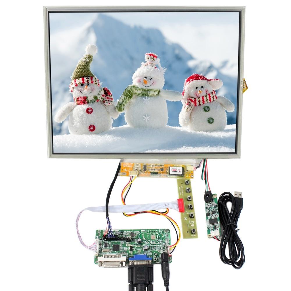 DVI+VGA LCD Control Board+15inch 1024x768 LTN150XB B150XG01 LCD+Touch Screen 8 4 8inch non touch industrial control lcd monitor display vga dvi interface metal shell fixed ear installation 4 3