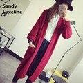 2016 осень новый длинный тонкий кардиган женщин свитера красный черный белый корейский стиль перемычки основные пальто свитер вязаный кардиган 027