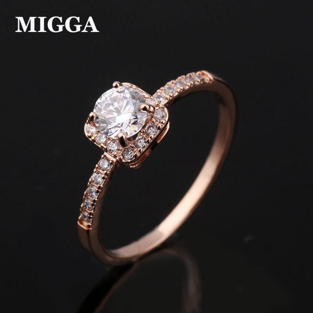 MIGGA Elegant Micro Paved Square Cubic Zirconia Ring Rose Gold Color Wedding Eng