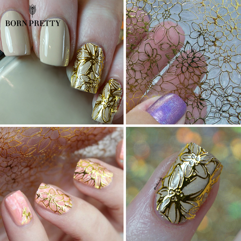 Embossed Blooming Flower 3D Nail Stickers Gold Adhesive