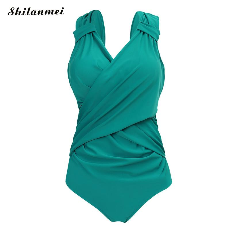 все цены на New Arrival one piece swimsuit plus size women Sexy underwire bathing suits Solid Ruffles Women's swimwear large size 5XL