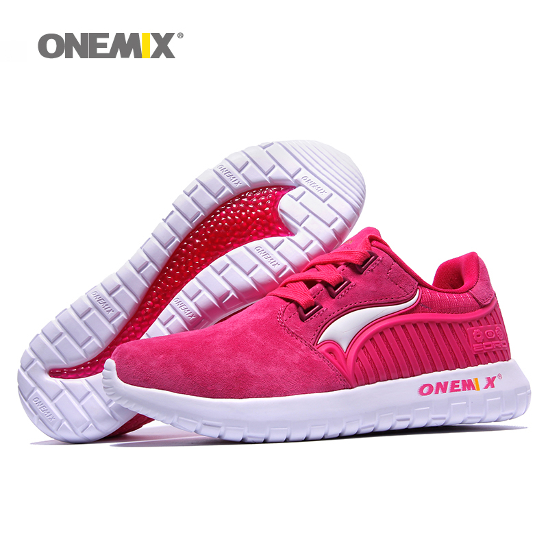 ONEMIX Woman Running Shoes For Women Nice Retro Suede Run Athletic Trainers Rose PigSkin Sports Shoe Outdoor Walking Sneakers women running shoes run athletic trainers woman sky blue zapatillas deportivas sports shoe air cushion outdoor walking sneakers