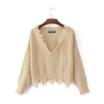 Pullover Ripped Hole Sweater Loose Casual Women Knit Long Sleeve