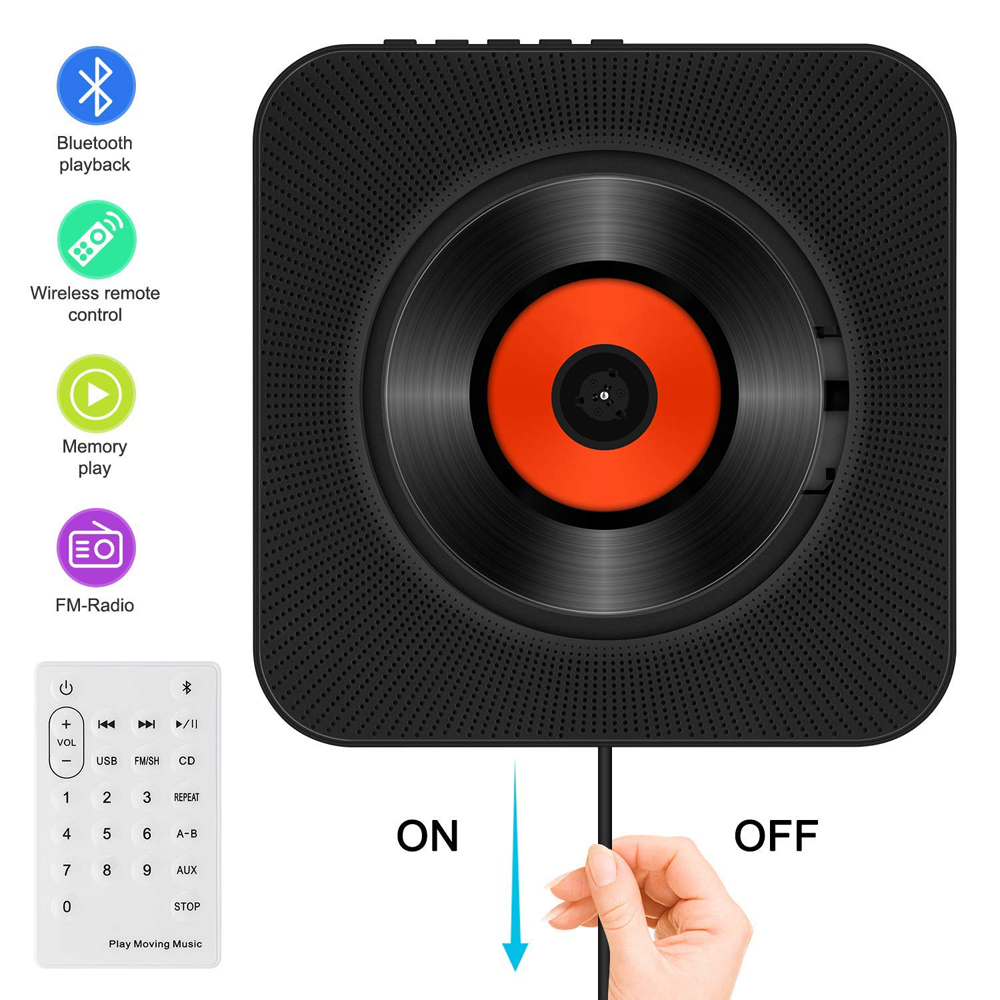 Hyleton sans fil haut-parleur CD lecteur Portable Audio pour La Maison avec Télécommande FM radio Intégré HiFi Haut-parleurs USB MP3 3.5mm jack