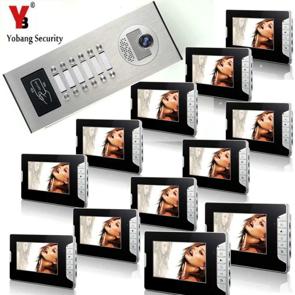 YobangSecurity 12 Units Apartment 7Inch Wired Video Door Phone Doorbell Intercom Entry System With RFID Access Door IR Camera yobangsecurity wired video door phone 7 inch lcd video doorbell door chime home intercom system kit with rfid access ir camera