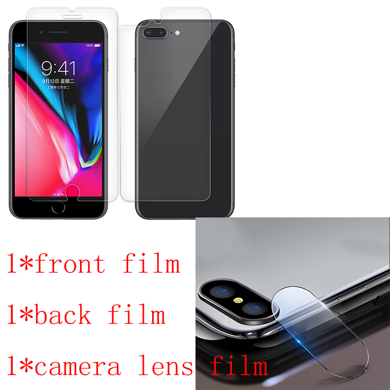 Nano-coated Front+Back Screen Protector For iPhone 7 8 Plus X Screen protector Camera lens Protective film Not Tempered Glass