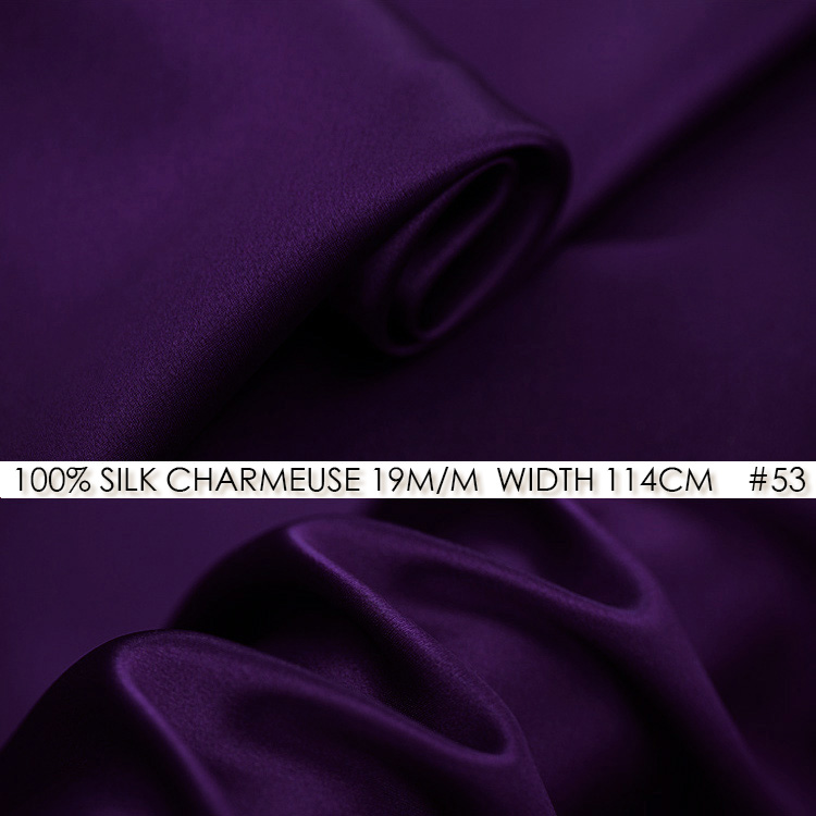 SILK CHARMEUSE SATIN 114cm width 19momme/100% Pure Silk Fabric for Sewing Great Cushion Cover/Party Ribbon NO 53 Dark Purple