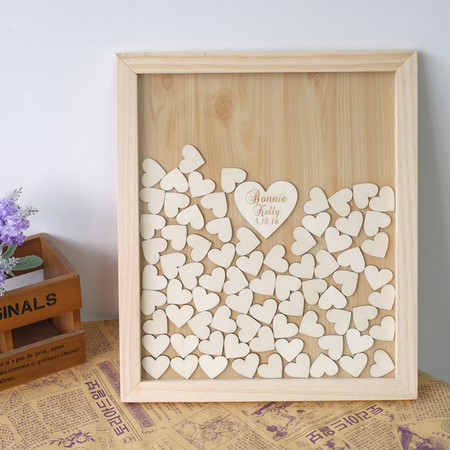 Wedding Guest Book Personalized With Wooden Hearts Alternative Drop Top Box