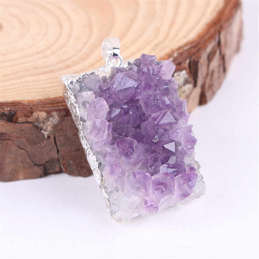 Natural Amethysts Crystal Druzy Pendant Gold Plating Irregular Quartz Pendants Jewelry Making Natural Stone Pendants Pendulum