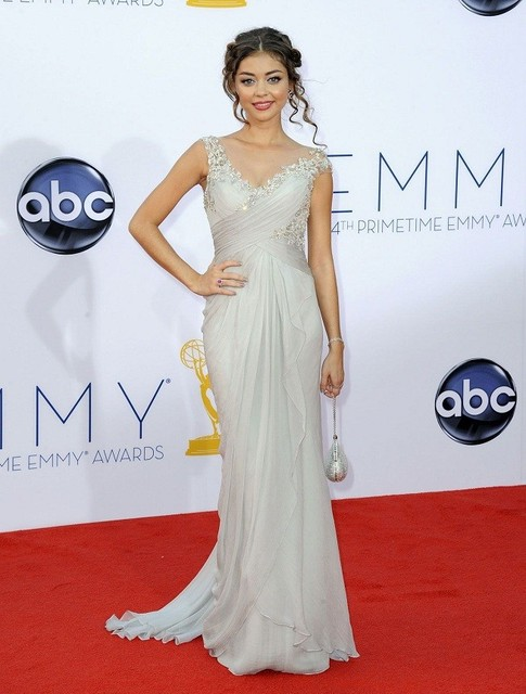Sarah Hyland Emmy Awards Dress Sliver Chiffon Lace Style Elegant Celebrity Gowns Red Carpet Dresses