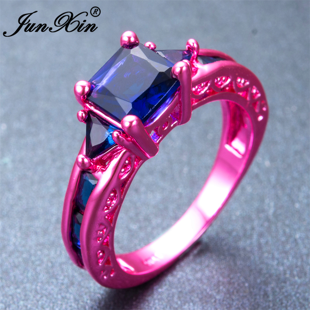 JUNXIN Fashion Female Girl\'s Blue Geometric Ring Pink Gold Filled ...