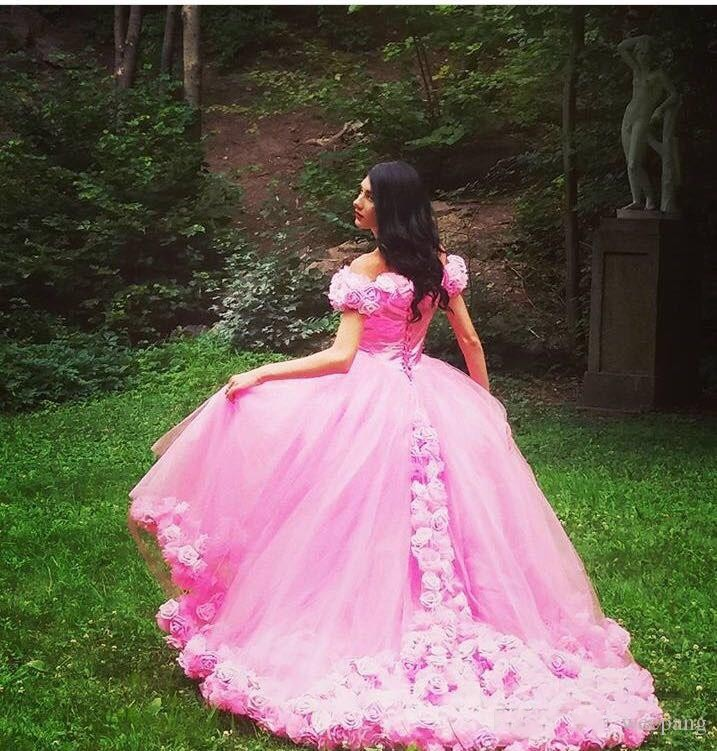 666498d1071 2017 Puffy Pink Quinceanera Dresses Princess Cinderella Formal Long Ball  Gown Sweet 16 Prom Party Gowns Off Shoulder 3D Flower-in Quinceanera Dresses  from ...
