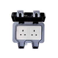 Double UK Standard Electrical Power Sockets Outlet Grounded Plug Outlets IP66 Weatherproof Waterproof Outdoor Wall Socket