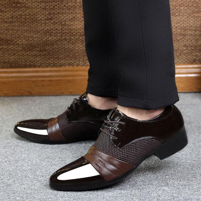 c16ebc93565 Derby chaussures pas cher hommes chaussures en cuir 2019 grande taille 38-47  patchwork à