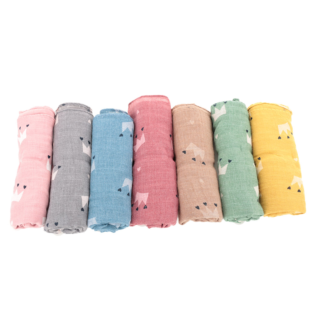 1PC Baby Scarf Fashion Cotton Linen Crown Printed Scarf For Kid Children Collar Scarf Fit For Autumn Winter Clothing Accessories