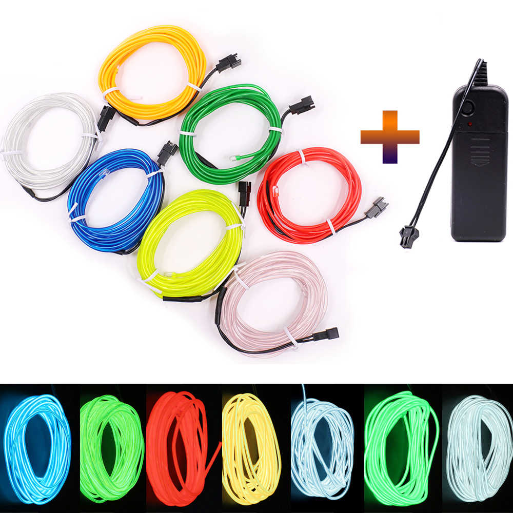 3V Battery 1m/3m/5M Flexible Neon Light Glow EL Wire Rope tape Cable Strip Neon Light Sign Shoes Clothing waterproof Neon Lamp