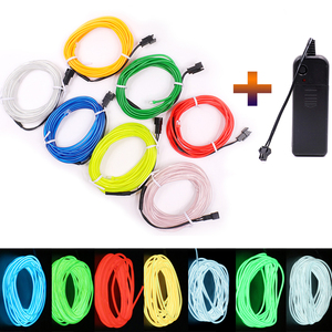 3V Battery 1m/3m/5M Flexible Neon Light Glow EL Wire Rope tape Cable Strip Neon Light Sign Shoes Clothing waterproof Neon Lamp(China)