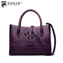 ZOOLER Genuine leather Alligator Pattern bags for women 2017 Ladies retro design handbag Large Capacity Tote shoulder bag X100