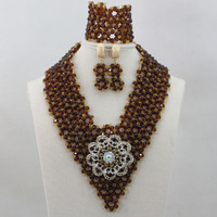 Classic Brown/Champagne Gold Nigerian Wedding African Jewelry Set Traditional Beads Bridal Accessory Women Free Shipping ALJ789