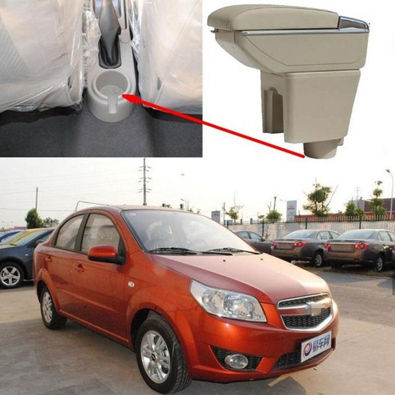 Car Armrest Central Store content Storage box with cup holder ashtray Accessories for Chevrolet Aveo Lova 2