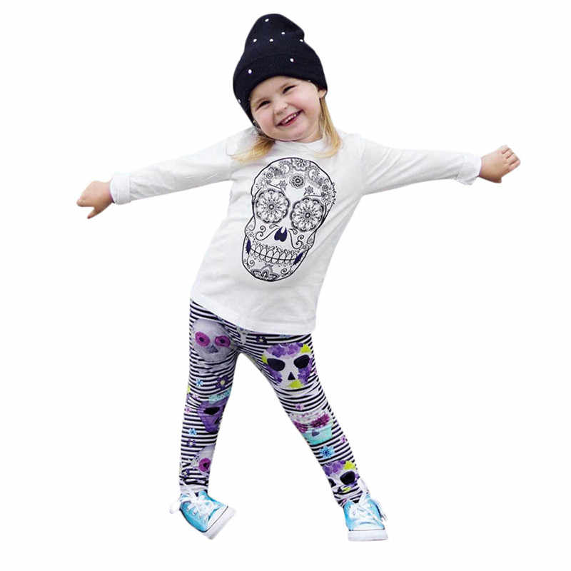 05fa01906 ... 2018 Halloween Toddler Baby Boy Girl Clothes Set Skull Striped Hooded  Tops Blouse+ Pants Baby Outfits ...