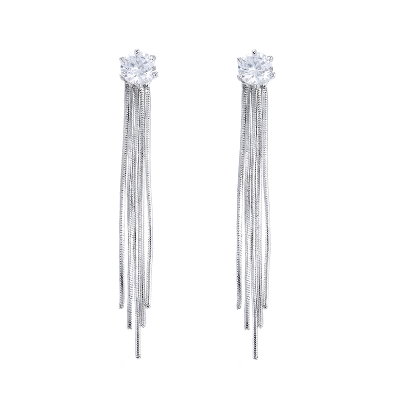 Hot sell shiny cubic zircon 925 sterling silver ladies tassels stud earrings jewelry gift wholesale drop shipping female no fade in Stud Earrings from Jewelry Accessories