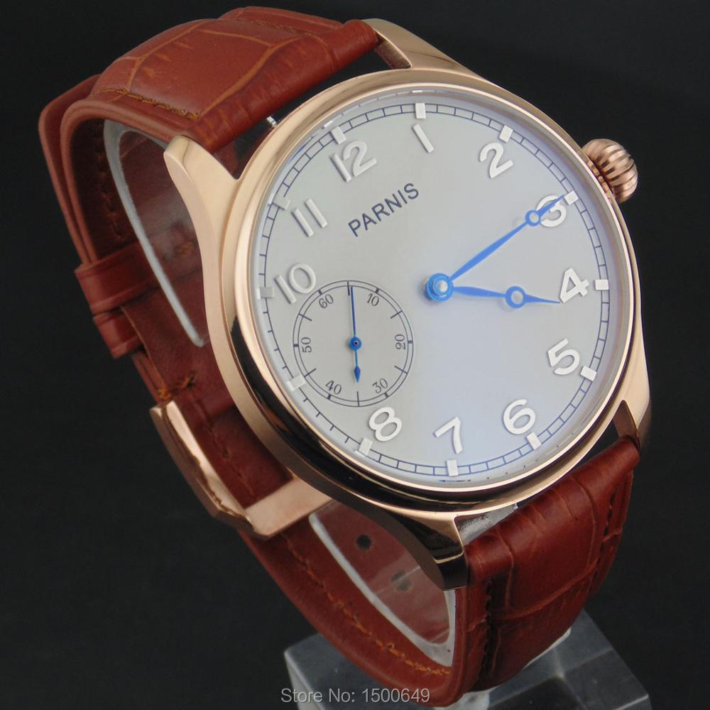 Image 2 - 44mm Parnis white Dial blue hands case Mechanical 6497  Hand 