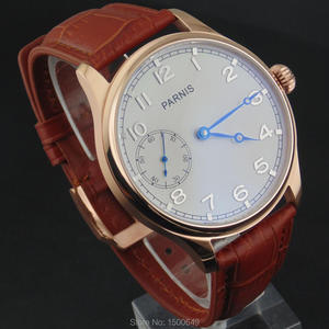 Image 2 - 44mm Parnis white Dial blue hands case Mechanical 6497  Hand Winding mens Watches