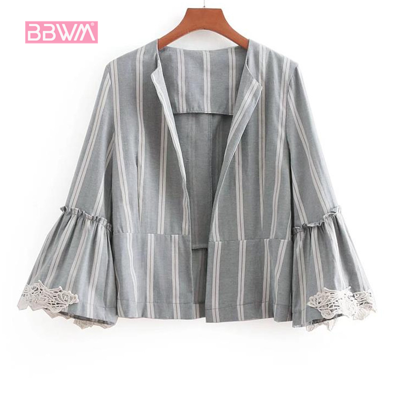 Women's 2018 Hong Kong New Lace Stitching Flared Casual Striped Suit Cardigan Jacket