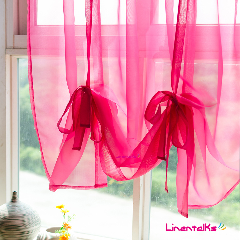 Ho how to tie balloon curtains - Free Shipping Solid Color Gauze Roman Continental Short Half Curtain Curtain Rod Wear Finished Screens