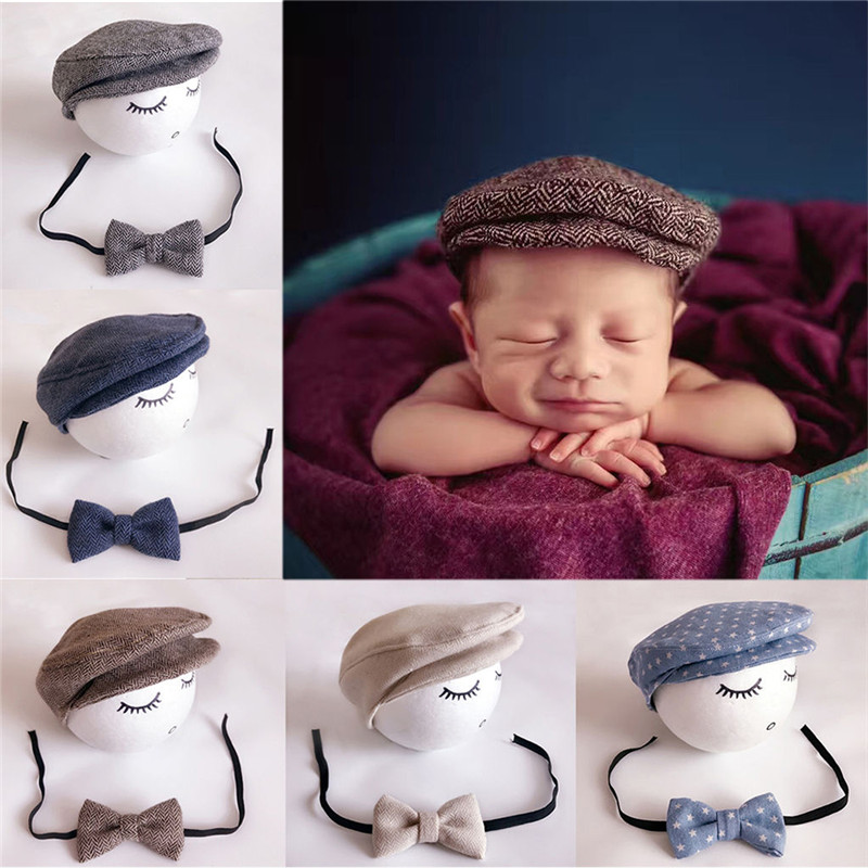 Cute Peaked Beanie Cap Hat Bow Set For Children Photography Prop Outfit Set Baby Kids Soft Breathable Sunscreen Fashion Newsboy