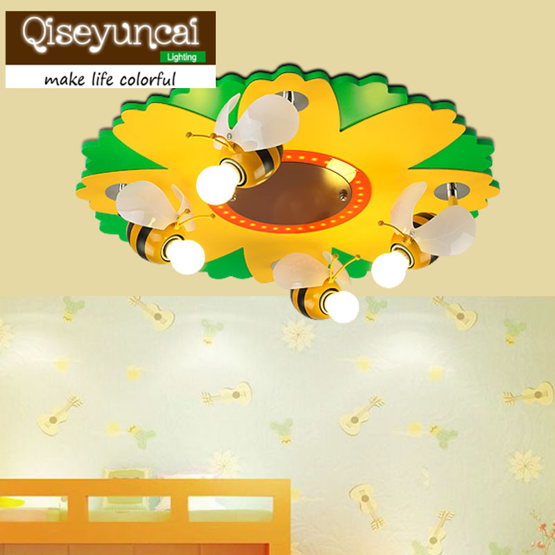 Qiseyuncai 2018 new Small dense bee flower LED, children ceiling lamp, creative cartoon, animal modeling, childrens room lamps.